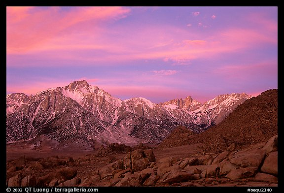 Alabama hills and Sierras, winter sunrise. Sequoia National Park (color)