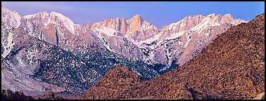 Mount Whitney at dawn. Sequoia National Park (Panoramic color)