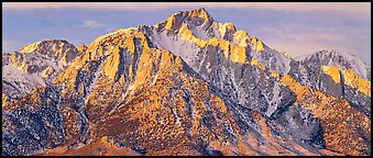 Lone Pine Peak, winter sunrise. Sequoia National Park (Panoramic color)