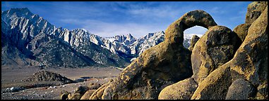 Rock Arch and Sierra Nevada range. Sequoia National Park (Panoramic color)