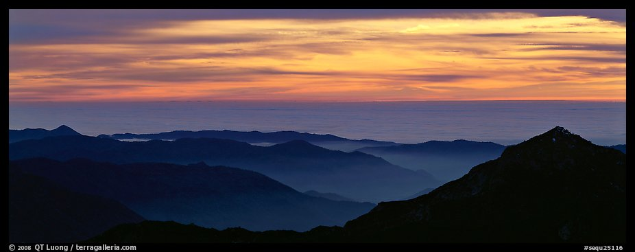 Ridges and sea of clouds. Sequoia National Park (color)