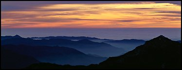 Ridges and sea of clouds. Sequoia National Park (Panoramic color)