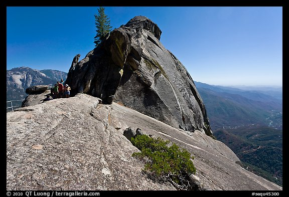 Moro Rock with hikers on path. Sequoia National Park (color)