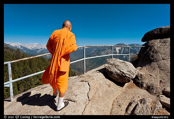 Buddhist Monk on Moro Rock. Sequoia National Park (color)