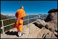 Buddhist Monk on Moro Rock. Sequoia National Park, California, USA. (color)