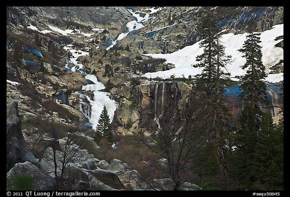 Tokopah Falls cascading down cliffs for 1200 feet. Sequoia National Park (color)