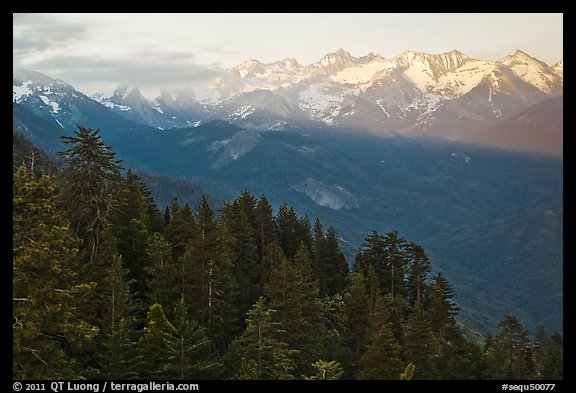 Kaweah Range section of the Sierra Nevada Mountains at sunset. Sequoia National Park (color)