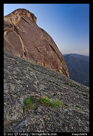 Granite slabs and dome of Moro Rock at sunset. Sequoia National Park (color)