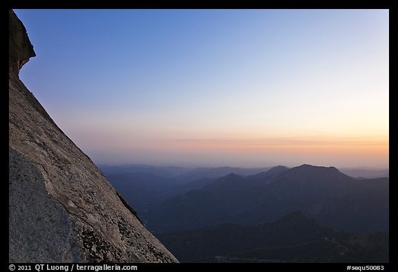 Moro Rock profile and foothills at sunset. Sequoia National Park (color)