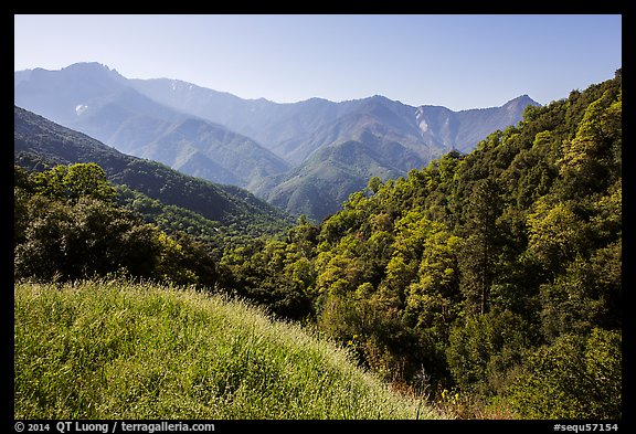 Hills and mountains in spring near Amphitheater Point. Sequoia National Park (color)