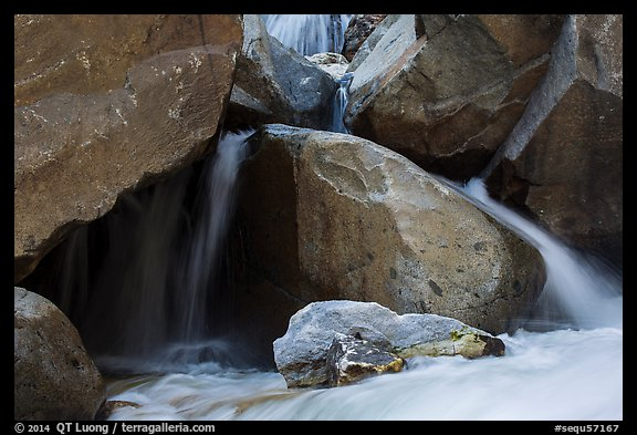 Boulders and cascades, Marble fork of Kaweah River. Sequoia National Park (color)