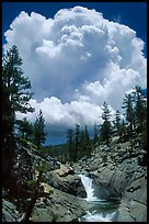 Yosemite Creek and summer afternoon thunderstorm cloud. Yosemite National Park, California, USA. (color)