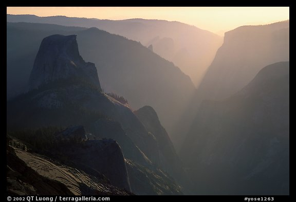 Half-Dome and Yosemite Valley seen from Clouds rest, late afternoon. Yosemite National Park (color)