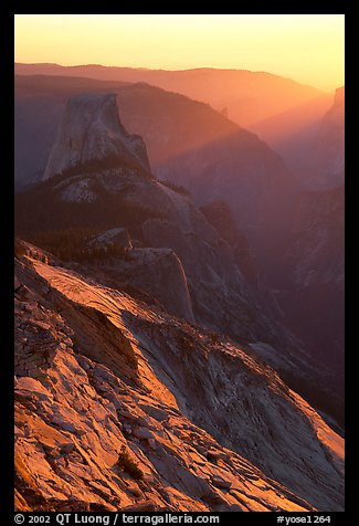 Half-Dome and Yosemite Valley seen from Clouds rest, sunset. Yosemite National Park (color)
