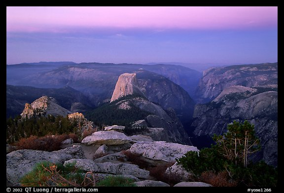 View of Yosemite Valley from Clouds Rest at dawn. Yosemite National Park, California, USA.