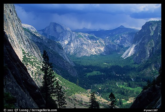 View of Yosemite Valley and Half-Dome from Yosemite Falls trail. Yosemite National Park (color)