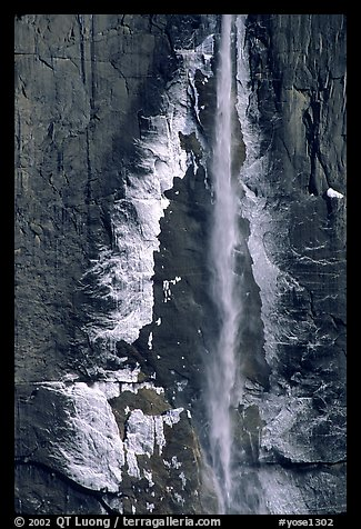 Ice crust on Yosemite Falls wall. Yosemite National Park (color)