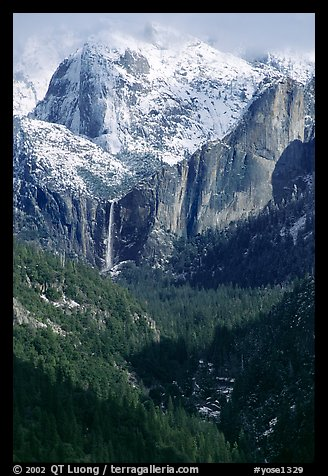 Bridalveil Falls and Cathedral rocks in winter. Yosemite National Park (color)