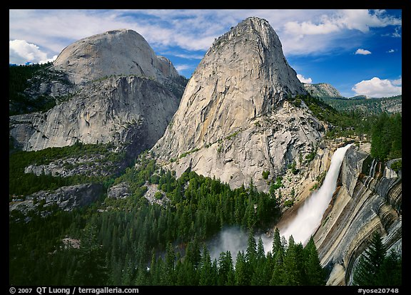 Nevada Fall, Liberty Cap, and Half Dome. Yosemite National Park (color)