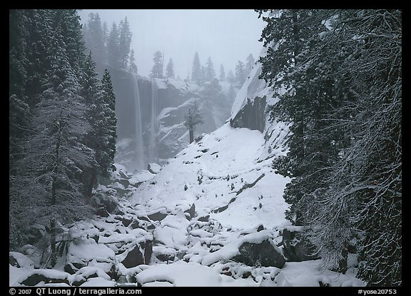 Thin flow of Vernal Fall in winter. Yosemite National Park (color)