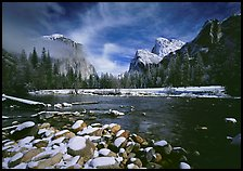 Valley View in winter. Yosemite National Park, California, USA. (color)