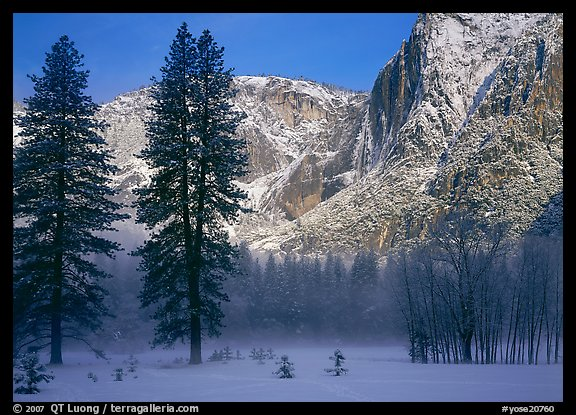 Awhahee Meadow and Yosemite falls wall with snow, early winter morning. Yosemite National Park (color)