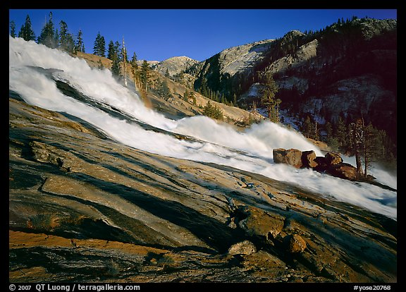 Waterwheels Fall of the Tuolumne River, late afternoon. Yosemite National Park (color)