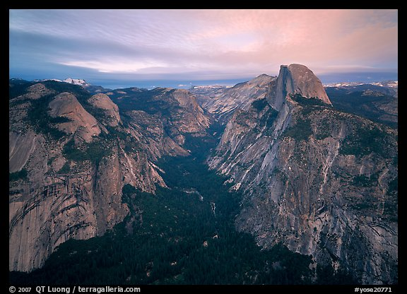 Half-Dome, Tenaya Canyon, and North Dome, sunset. Yosemite National Park (color)