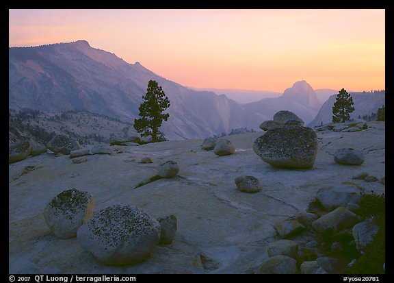 Glacial polish and erratics, Clouds Rest and Half Dome, sunset. Yosemite National Park (color)