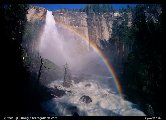 Nevada Falls with rainbow, afternoon. Yosemite National Park (color)