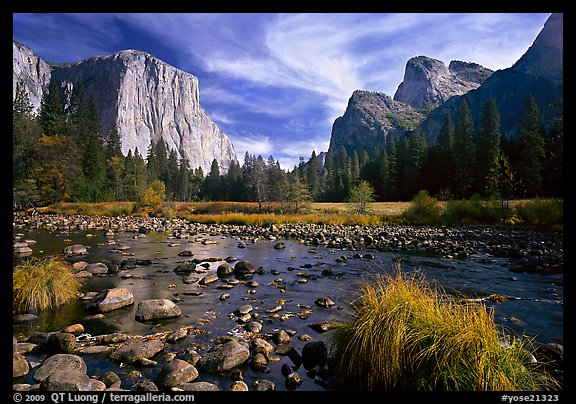 Yosemite Valley landscape in  autumn. Yosemite National Park (color)