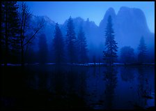 Cathedral rocks with mist, winter dusk. Yosemite National Park, California, USA.