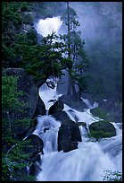 Raging waters in Cascade Creek during  spring. Yosemite National Park, California, USA.