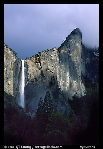 Bridalveil Falls and Leaning Tower, stormy sky. Yosemite National Park (color)