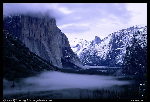 Yosemite Valley from Tunnel View with fog in winter. Yosemite National Park (color)