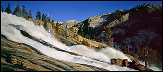Waterwheel falls in the afternoon. Yosemite National Park (Panoramic color)
