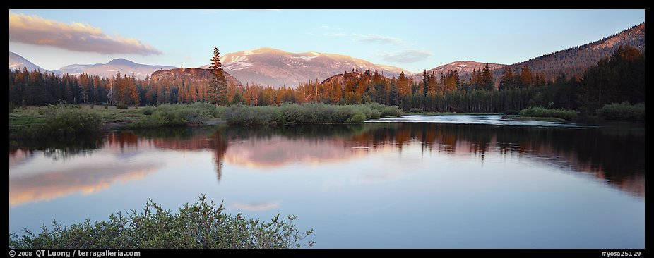 Alpine lake and mountains at sunset. Yosemite National Park (color)