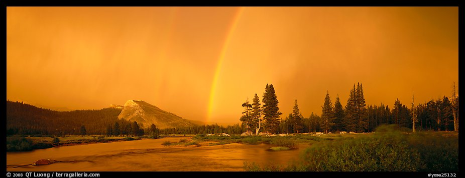 Evening storm with rainbow over Tuolumne Meadows. Yosemite National Park (color)