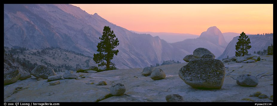 Erratic glacial boulders and Half-Dome at sunset. Yosemite National Park (color)