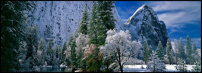 Cathedral rocks in winter. Yosemite National Park (Panoramic color)
