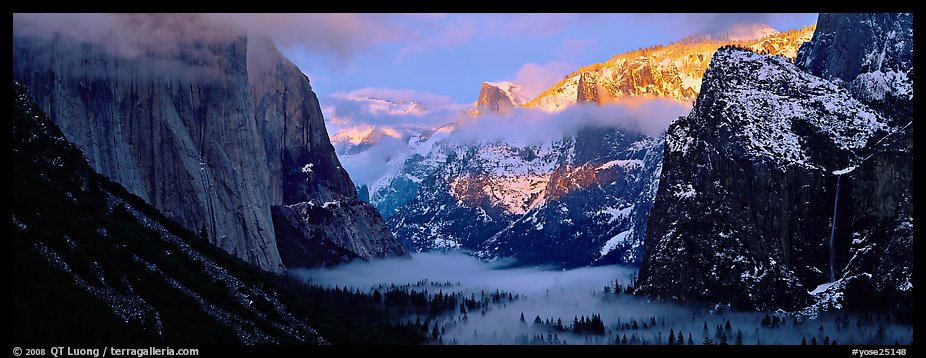 Winter sunset over Yosemite Valley. Yosemite National Park (color)