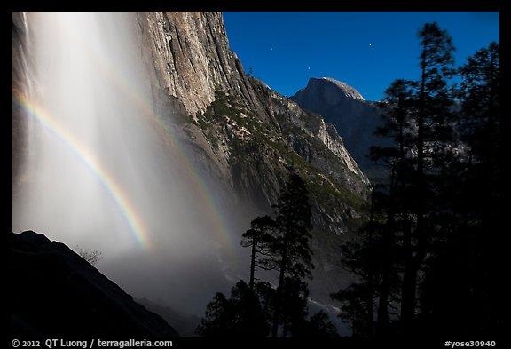 Upper Yosemite Falls with double moonbow and Half-Dome. Yosemite National Park (color)