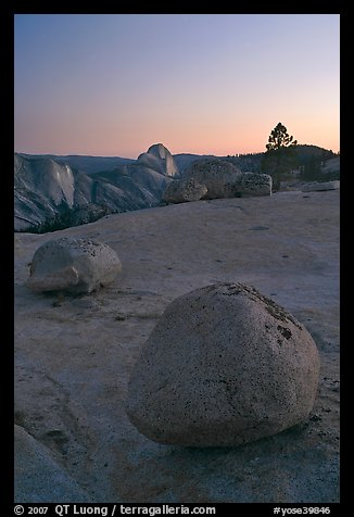 Boulders and Half-Dome from Olmsted point. Yosemite National Park, California, USA.