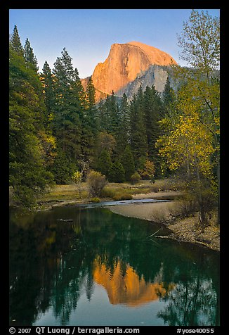 Half Dome reflected in Merced River at sunset. Yosemite National Park (color)