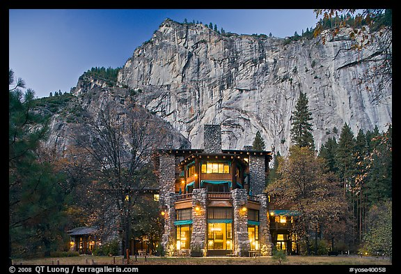 Ahwahnee hotel and cliffs. Yosemite National Park (color)