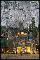 Historic Ahwahnee lodge at dusk. Yosemite National Park, California, USA.