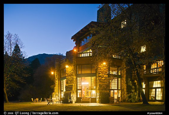 Lights of Ahwahnee hotel at night. Yosemite National Park (color)
