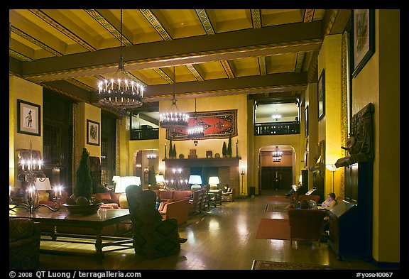 Reading room at night, Ahwahnee hotel. Yosemite National Park (color)