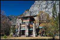 Ahwahnee lodge and cliffs. Yosemite National Park, California, USA. (color)