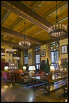 Lounge, Ahwahnee hotel. Yosemite National Park, California, USA. (color)